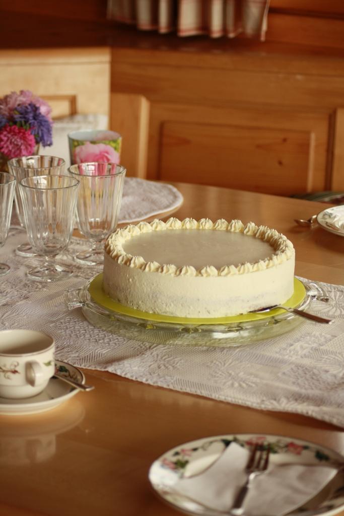 Mandelbisquit-Jogurt-Torte mit Trauben